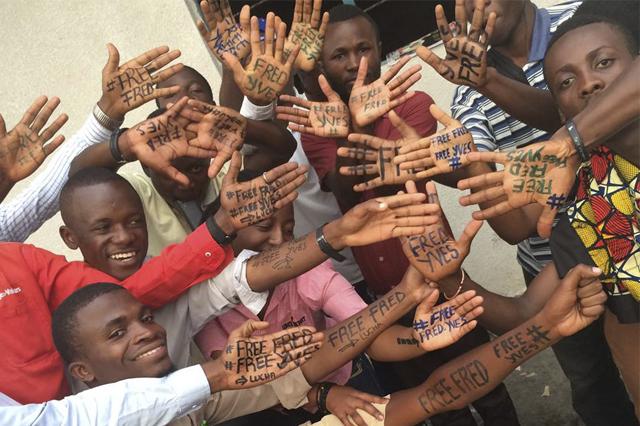 Campaña en la RDC para exigir liberación de activistas. Imagen obtenida de la página de FB del movimiento.